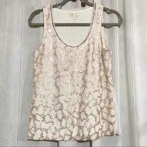 MEADOW RUE Gold Sequined Pleated Sleeveless Blouse